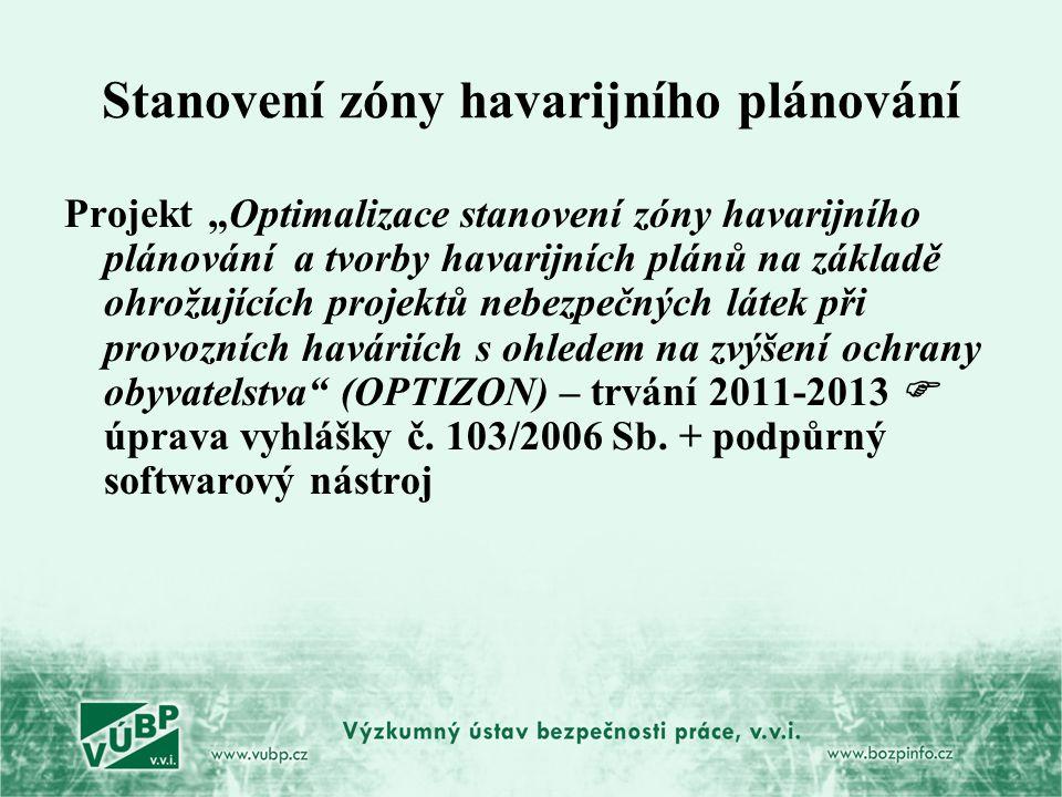 """Stanovení zóny havarijního plánování Projekt """"Optimalizace stanovení zóny havarijního plánování a tvorby havarijních plánů na základě ohrožujících pro"""
