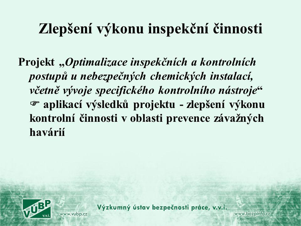 """Zlepšení výkonu inspekční činnosti Projekt """"Optimalizace inspekčních a kontrolních postupů u nebezpečných chemických instalací, včetně vývoje specific"""