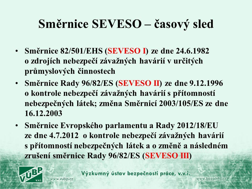 Směrnice SEVESO – časový sled Směrnice 82/501/EHS (SEVESO I) ze dne 24.6.1982 o zdrojích nebezpečí závažných havárií v určitých průmyslových činnostec