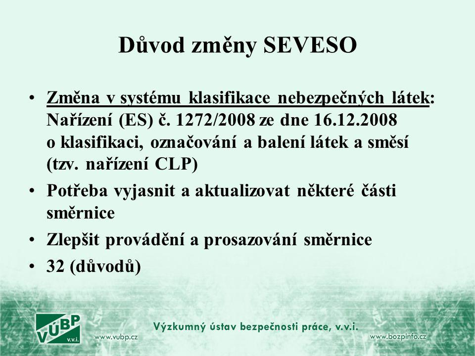 Důvod změny SEVESO Změna v systému klasifikace nebezpečných látek: Nařízení (ES) č. 1272/2008 ze dne 16.12.2008 o klasifikaci, označování a balení lát