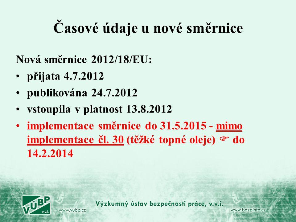 Časové údaje u nové směrnice Nová směrnice 2012/18/EU: přijata 4.7.2012 publikována 24.7.2012 vstoupila v platnost 13.8.2012 implementace směrnice do