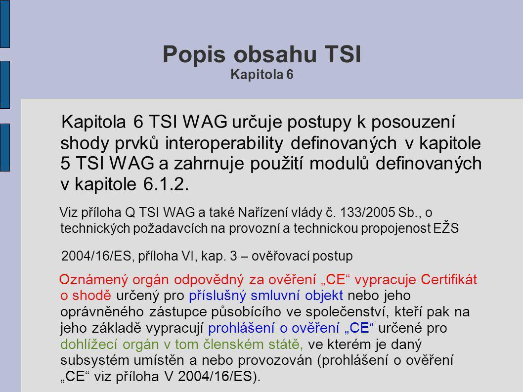 """Popis obsahu TSI Kapitola 6 6. Hodnocení shody prvků Viz také Zákon o dráhách č. 266/1994 Sb, ve znění pozdějších předpisů, §43 čl. 2,3,4 """"Podkladem p"""