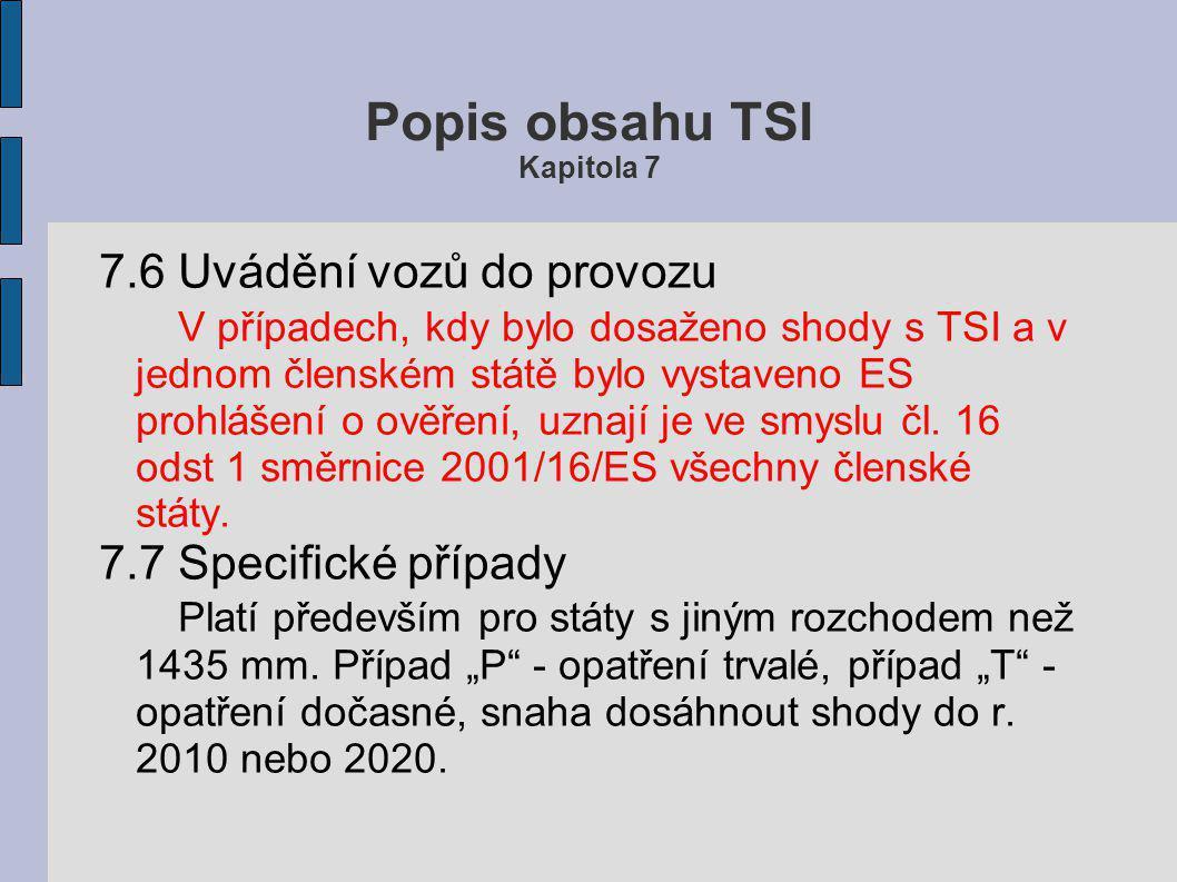 Popis obsahu TSI Kapitola 7 Při renovaci a modernizaci nákladních vozů platí TSI WAG s následujícími výjimkami: ● Detekce horké ložiskové skříně nápra