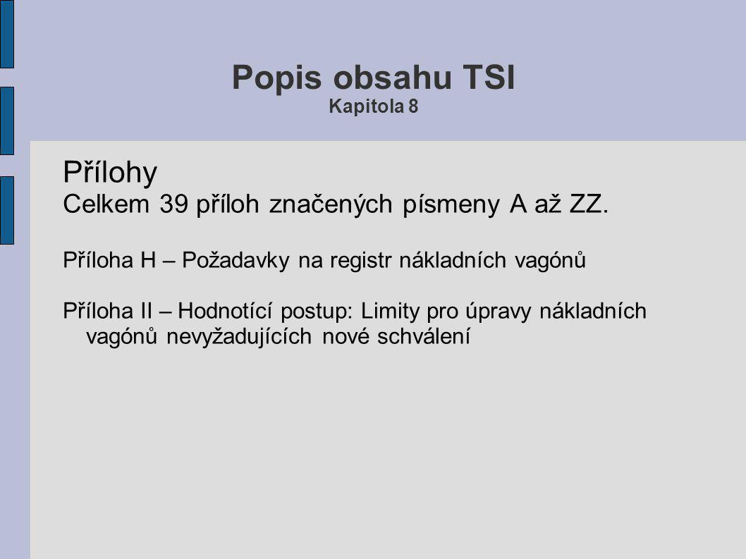 Popis obsahu TSI Kapitola 7 7.6 Uvádění vozů do provozu V případech, kdy bylo dosaženo shody s TSI a v jednom členském státě bylo vystaveno ES prohláš