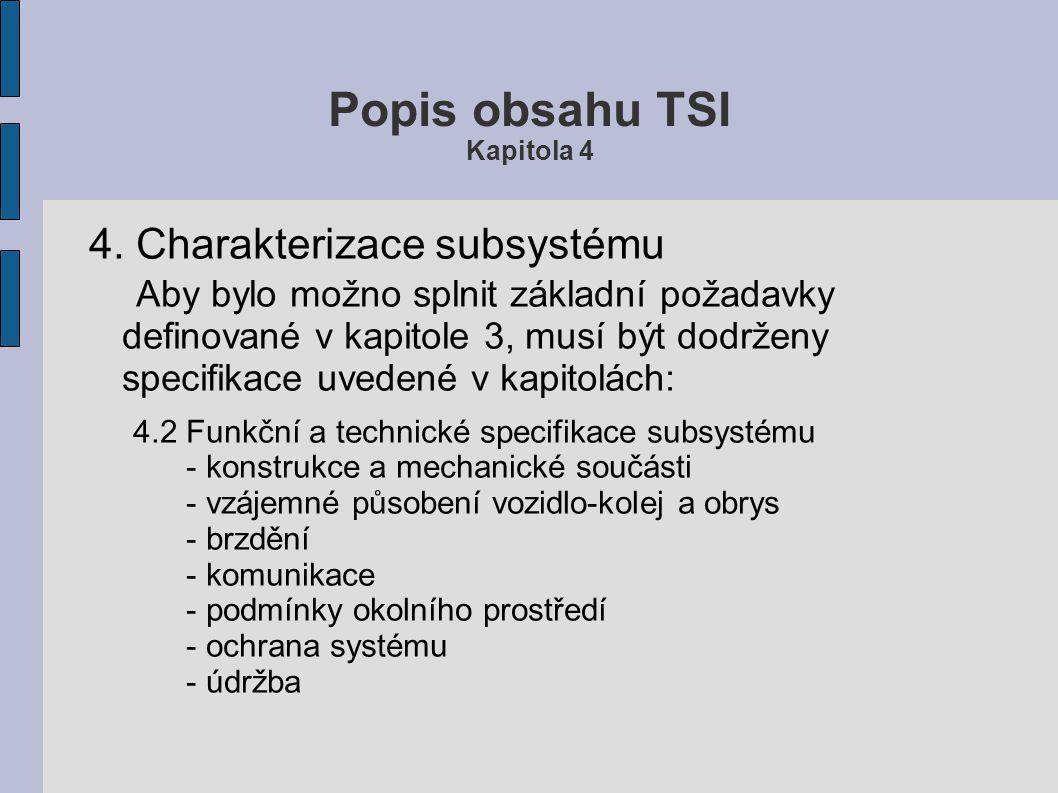 Popis obsahu TSI Kapitola 8 Přílohy Celkem 39 příloh značených písmeny A až ZZ.