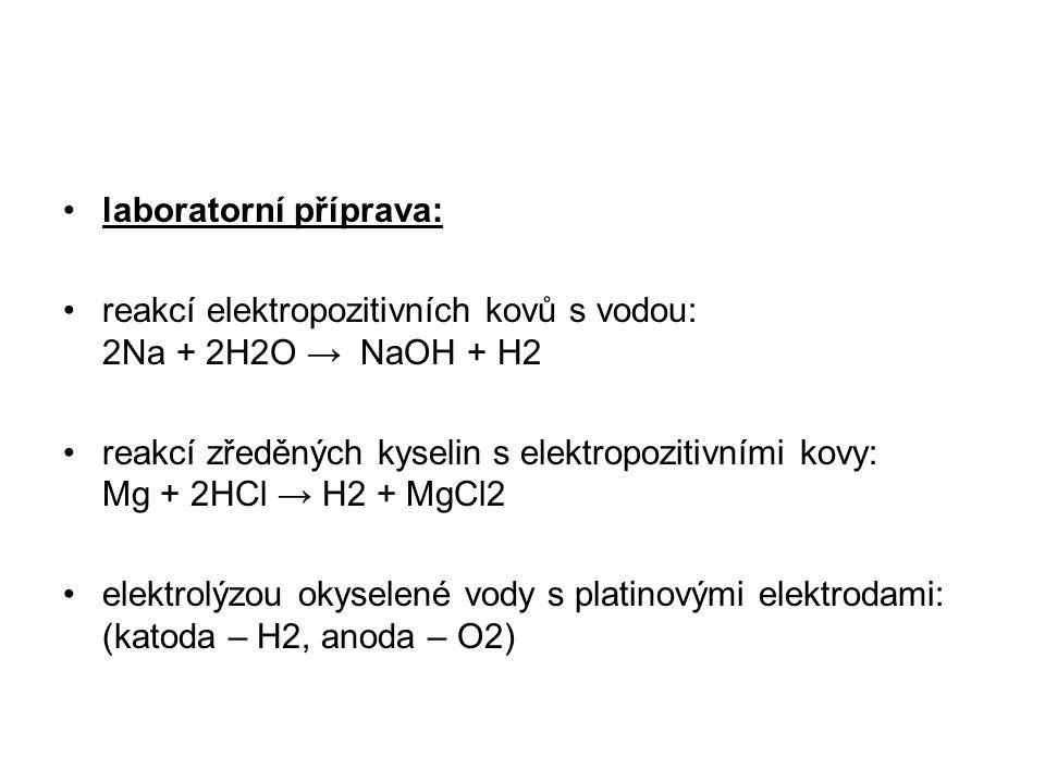 laboratorní příprava: reakcí elektropozitivních kovů s vodou: 2Na + 2H2O → NaOH + H2 reakcí zředěných kyselin s elektropozitivními kovy: Mg + 2HCl → H2 + MgCl2 elektrolýzou okyselené vody s platinovými elektrodami: (katoda – H2, anoda – O2)