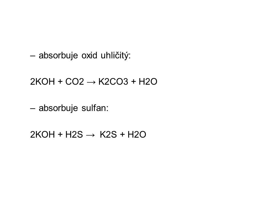 –absorbuje oxid uhličitý: 2KOH + CO2 → K2CO3 + H2O –absorbuje sulfan: 2KOH + H2S → K2S + H2O