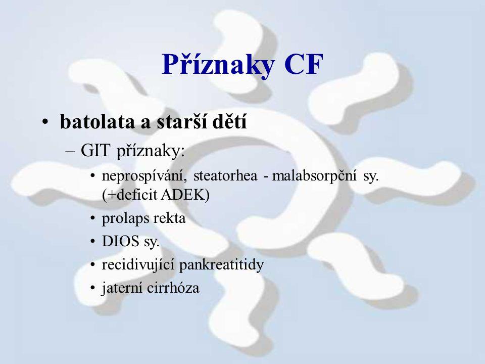Příznaky CF batolata a starší dětí –GIT příznaky: neprospívání, steatorhea - malabsorpční sy.
