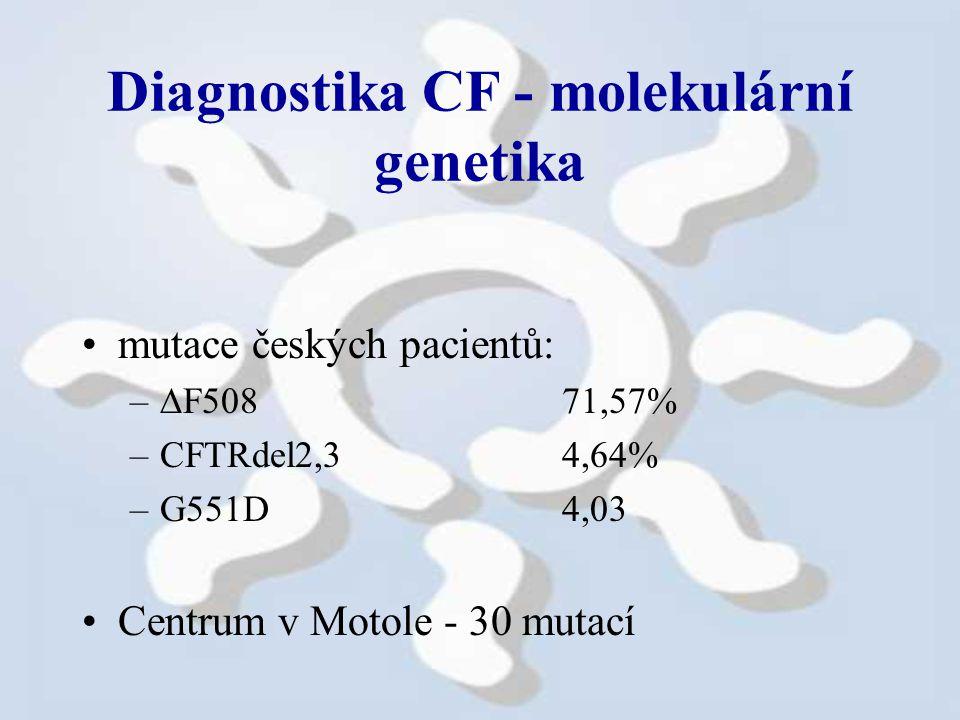 Diagnostika CF - molekulární genetika mutace českých pacientů: –  F508 71,57% –CFTRdel2,34,64% –G551D4,03 Centrum v Motole - 30 mutací
