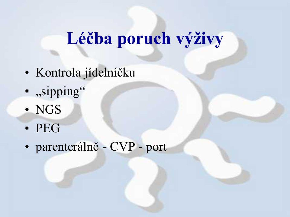 """Léčba poruch výživy Kontrola jídelníčku """"sipping NGS PEG parenterálně - CVP - port"""