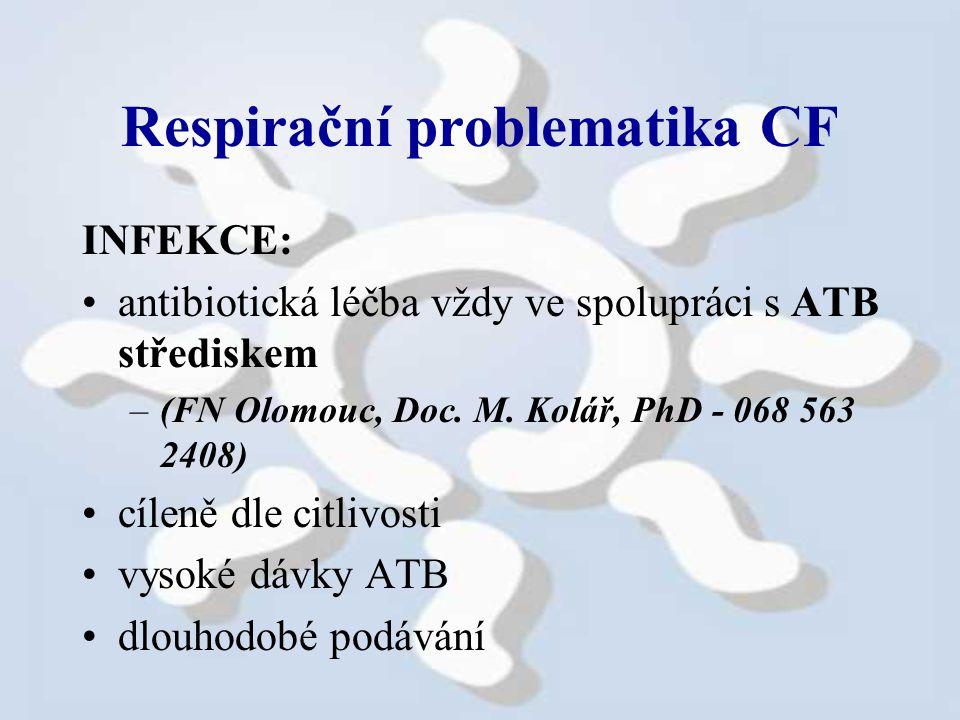 Respirační problematika CF INFEKCE: antibiotická léčba vždy ve spolupráci s ATB střediskem –(FN Olomouc, Doc.
