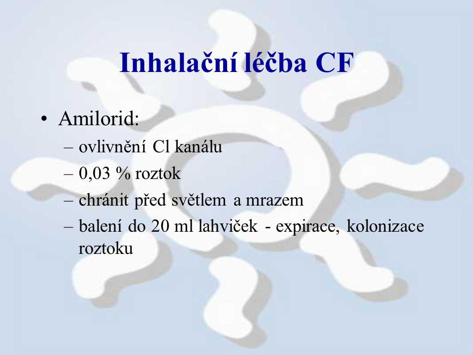 Inhalační léčba CF Amilorid: –ovlivnění Cl kanálu –0,03 % roztok –chránit před světlem a mrazem –balení do 20 ml lahviček - expirace, kolonizace roztoku