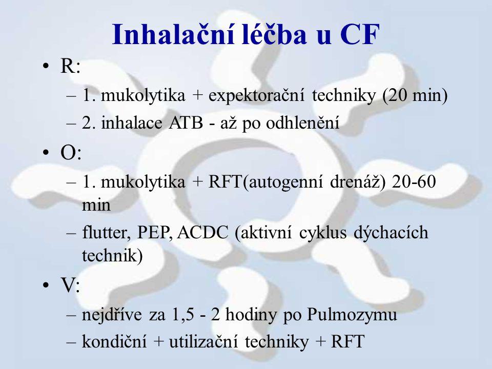 Inhalační léčba u CF R: –1.mukolytika + expektorační techniky (20 min) –2.