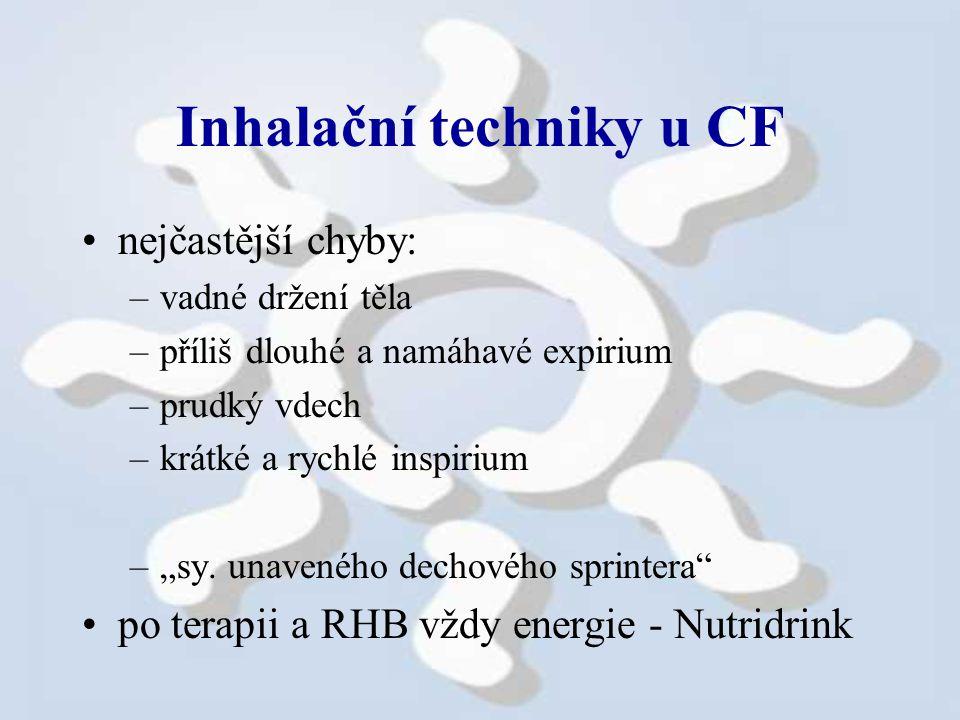 """Inhalační techniky u CF nejčastější chyby: –vadné držení těla –příliš dlouhé a namáhavé expirium –prudký vdech –krátké a rychlé inspirium –""""sy."""