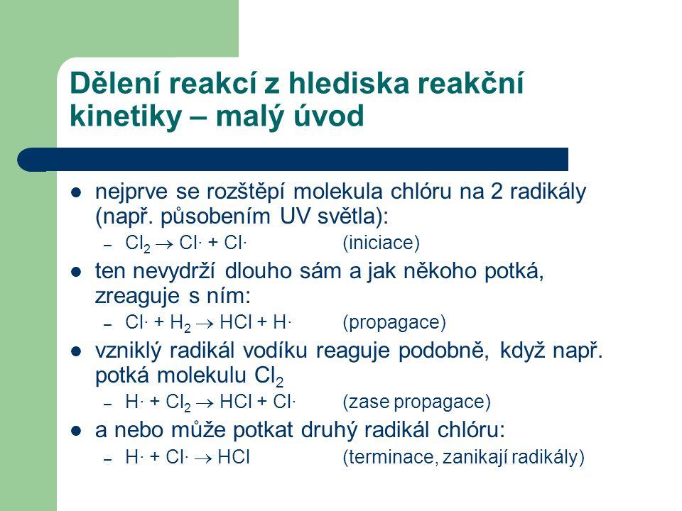 Dělení reakcí z hlediska reakční kinetiky – malý úvod nejprve se rozštěpí molekula chlóru na 2 radikály (např. působením UV světla): – Cl 2  Cl· + Cl