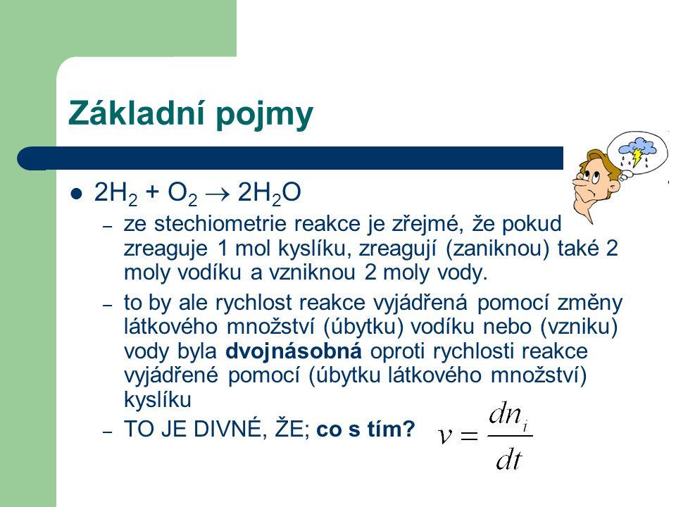 Základní pojmy 2H 2 + O 2  2H 2 O – ze stechiometrie reakce je zřejmé, že pokud zreaguje 1 mol kyslíku, zreagují (zaniknou) také 2 moly vodíku a vzniknou 2 moly vody.