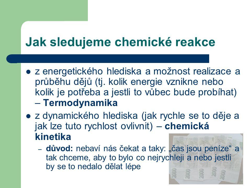 Jak sledujeme chemické reakce z energetického hlediska a možnost realizace a průběhu dějů (tj. kolik energie vznikne nebo kolik je potřeba a jestli to