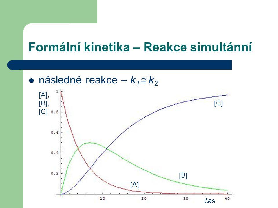 Formální kinetika – Reakce simultánní čas [A], [B], [C] následné reakce – k 1  k 2 [A] [B] [C]