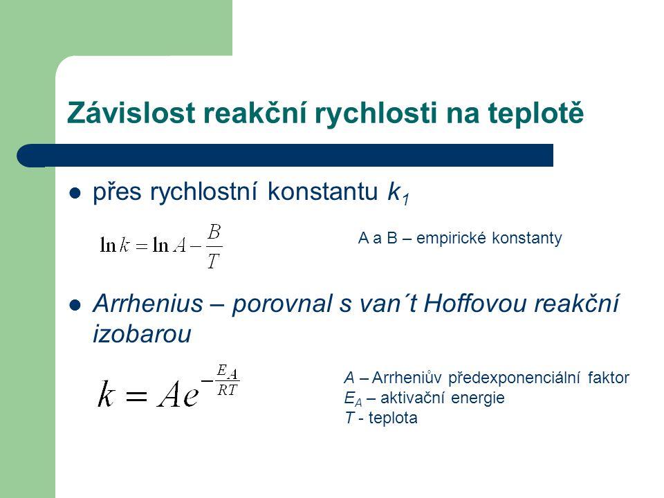 Závislost reakční rychlosti na teplotě přes rychlostní konstantu k 1 Arrhenius – porovnal s van´t Hoffovou reakční izobarou A a B – empirické konstant