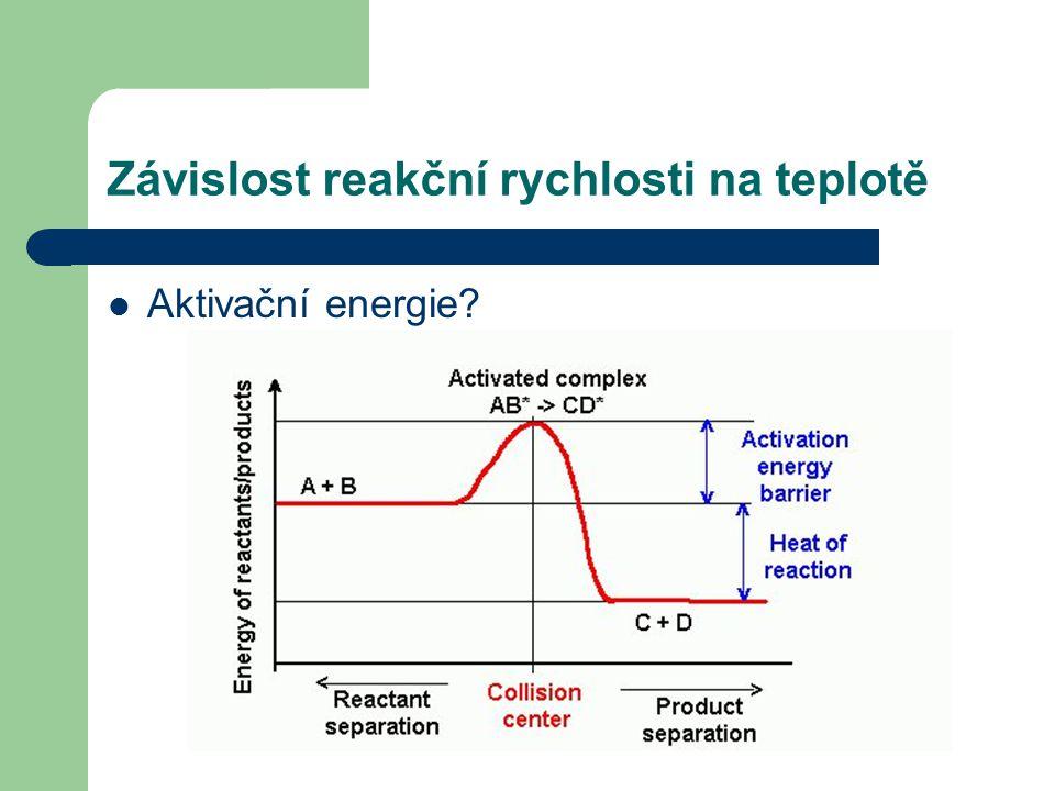 Závislost reakční rychlosti na teplotě Aktivační energie?