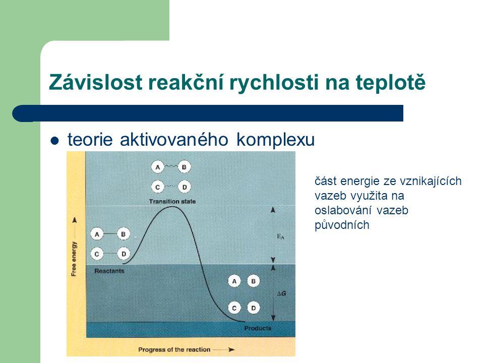 Závislost reakční rychlosti na teplotě teorie aktivovaného komplexu část energie ze vznikajících vazeb využita na oslabování vazeb původních