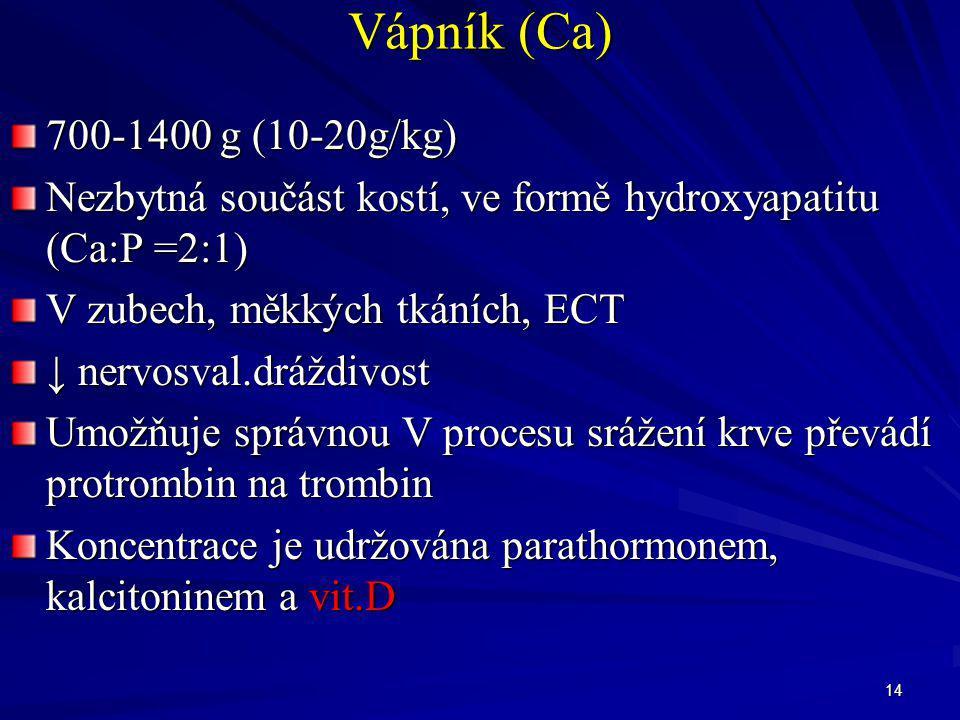 14 Vápník (Ca) 700-1400 g (10-20g/kg) Nezbytná součást kostí, ve formě hydroxyapatitu (Ca:P =2:1) V zubech, měkkých tkáních, ECT ↓ nervosval.dráždivos