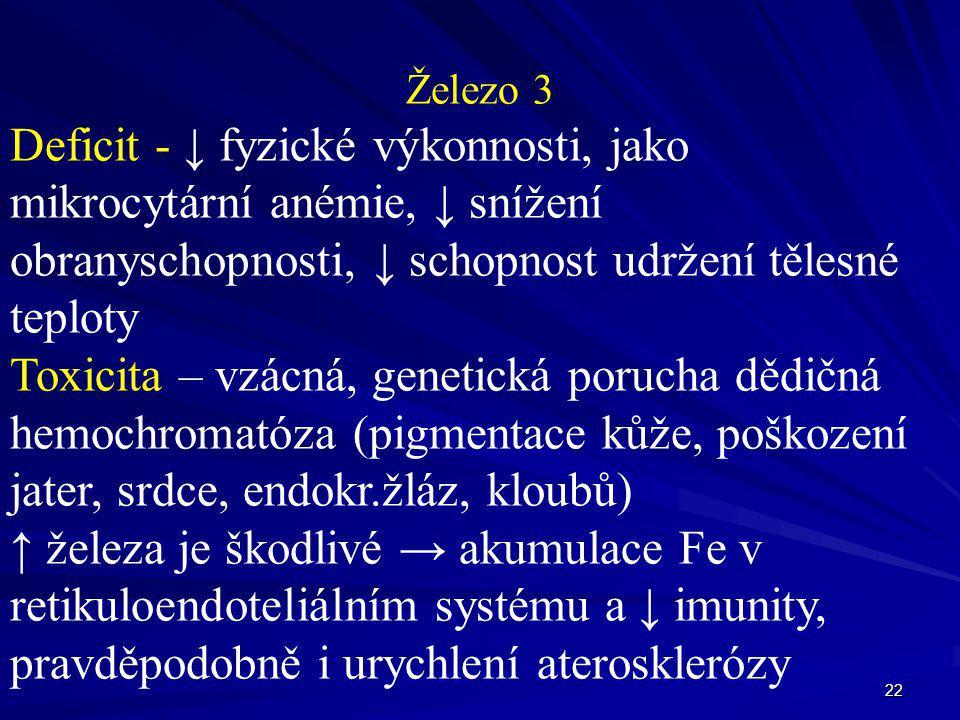 22 Železo 3 Deficit - ↓ fyzické výkonnosti, jako mikrocytární anémie, ↓ snížení obranyschopnosti, ↓ schopnost udržení tělesné teploty Toxicita – vzácn