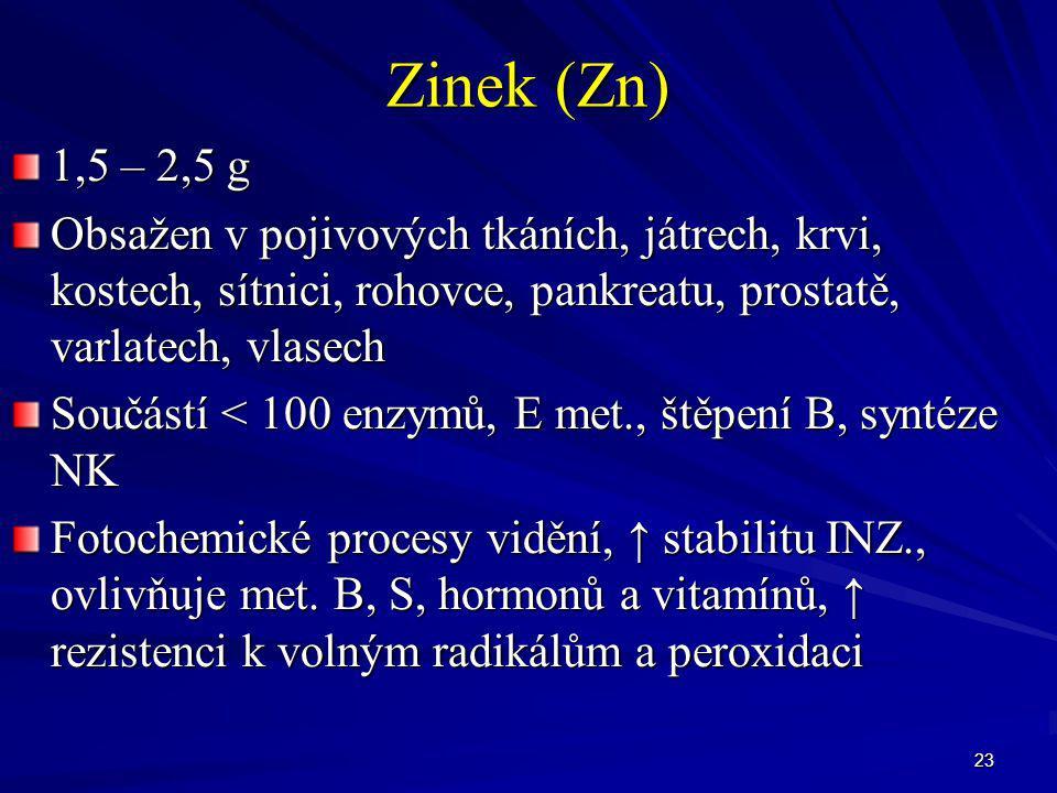23 Zinek (Zn) 1,5 – 2,5 g Obsažen v pojivových tkáních, játrech, krvi, kostech, sítnici, rohovce, pankreatu, prostatě, varlatech, vlasech Součástí < 1