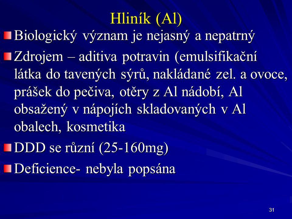 31 Hliník (Al) Biologický význam je nejasný a nepatrný Zdrojem – aditiva potravin (emulsifikační látka do tavených sýrů, nakládané zel. a ovoce, práše