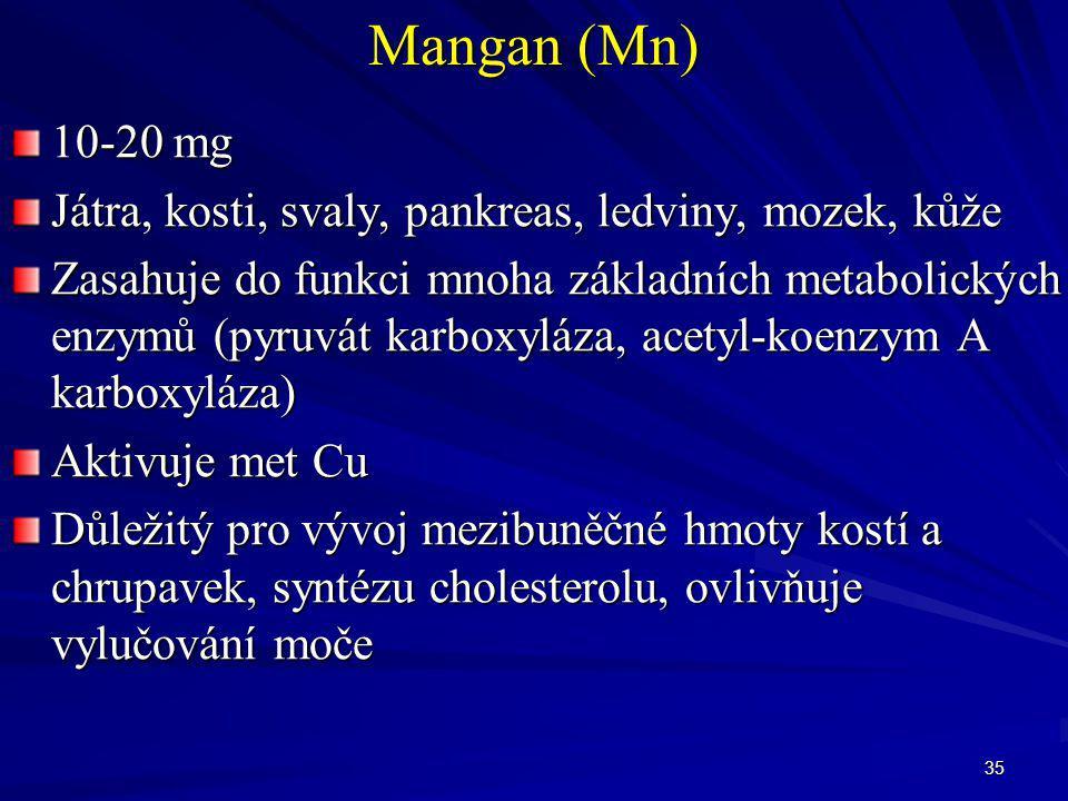 35 Mangan (Mn) 10-20 mg Játra, kosti, svaly, pankreas, ledviny, mozek, kůže Zasahuje do funkci mnoha základních metabolických enzymů (pyruvát karboxyl