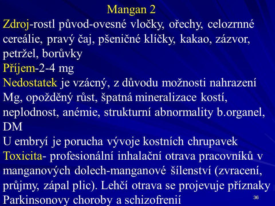 36 Mangan 2 Zdroj-rostl původ-ovesné vločky, ořechy, celozrnné cereálie, pravý čaj, pšeničné klíčky, kakao, zázvor, petržel, borůvky Příjem-2-4 mg Ned