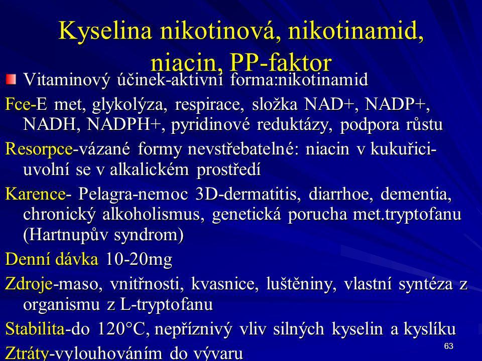 63 Kyselina nikotinová, nikotinamid, niacin, PP-faktor Vitaminový účinek-aktivní forma:nikotinamid Fce-E met, glykolýza, respirace, složka NAD+, NADP+