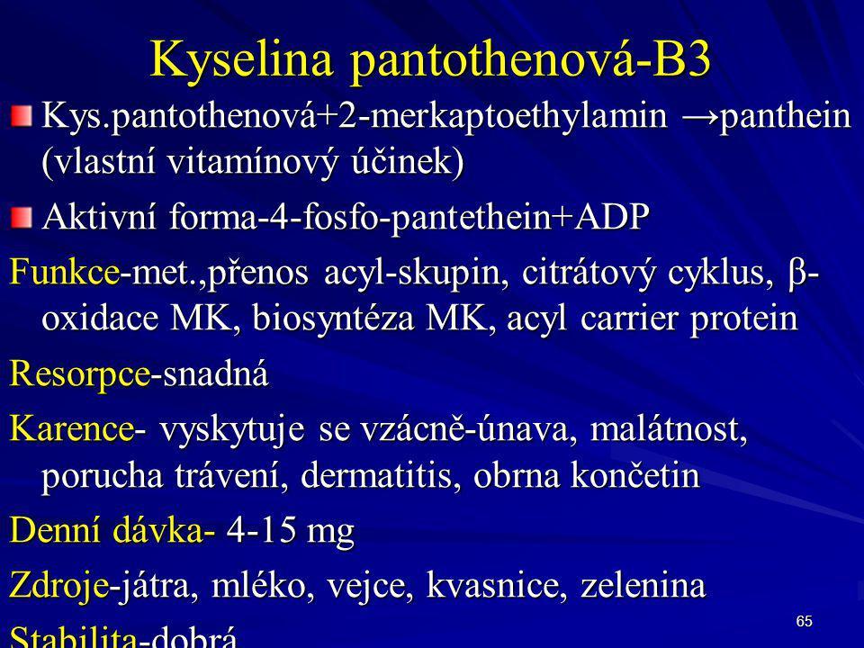 65 Kyselina pantothenová-B3 Kys.pantothenová+2-merkaptoethylamin →panthein (vlastní vitamínový účinek) Aktivní forma-4-fosfo-pantethein+ADP Funkce-met