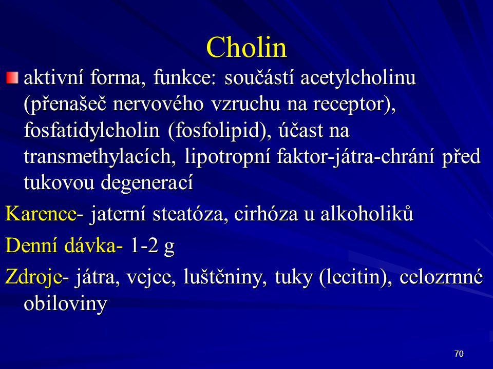 70 Cholin aktivní forma, funkce: součástí acetylcholinu (přenašeč nervového vzruchu na receptor), fosfatidylcholin (fosfolipid), účast na transmethyla