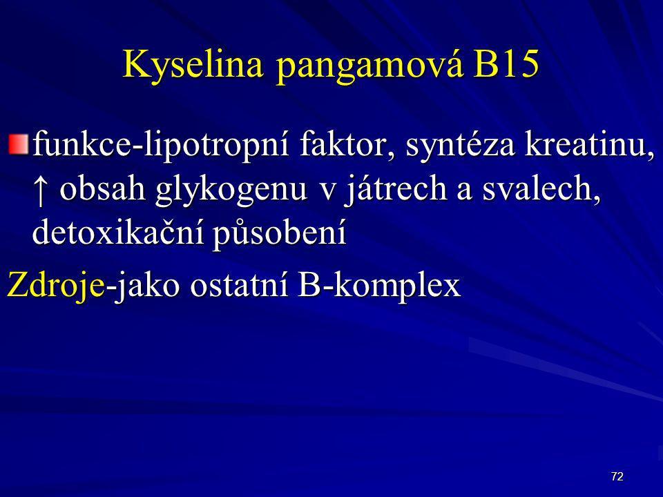 72 Kyselina pangamová B15 funkce-lipotropní faktor, syntéza kreatinu, ↑ obsah glykogenu v játrech a svalech, detoxikační působení Zdroje-jako ostatní