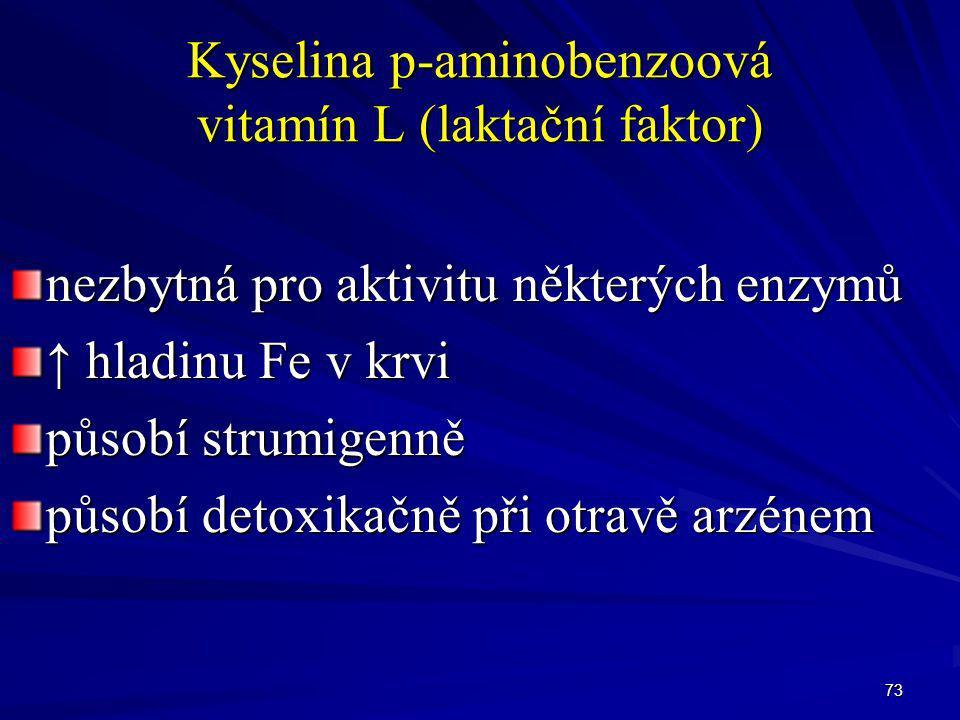 73 Kyselina p-aminobenzoová vitamín L (laktační faktor) nezbytná pro aktivitu některých enzymů ↑ hladinu Fe v krvi působí strumigenně působí detoxikač