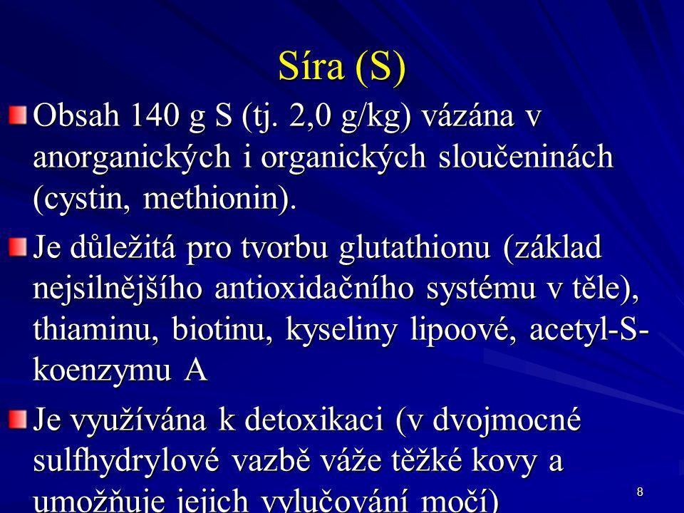 39 Chróm (Cr) 5-10 mg Se↑ věkem se množství↓, jako důsledek↑ konzumace cukru a rafinovaných potravin met.