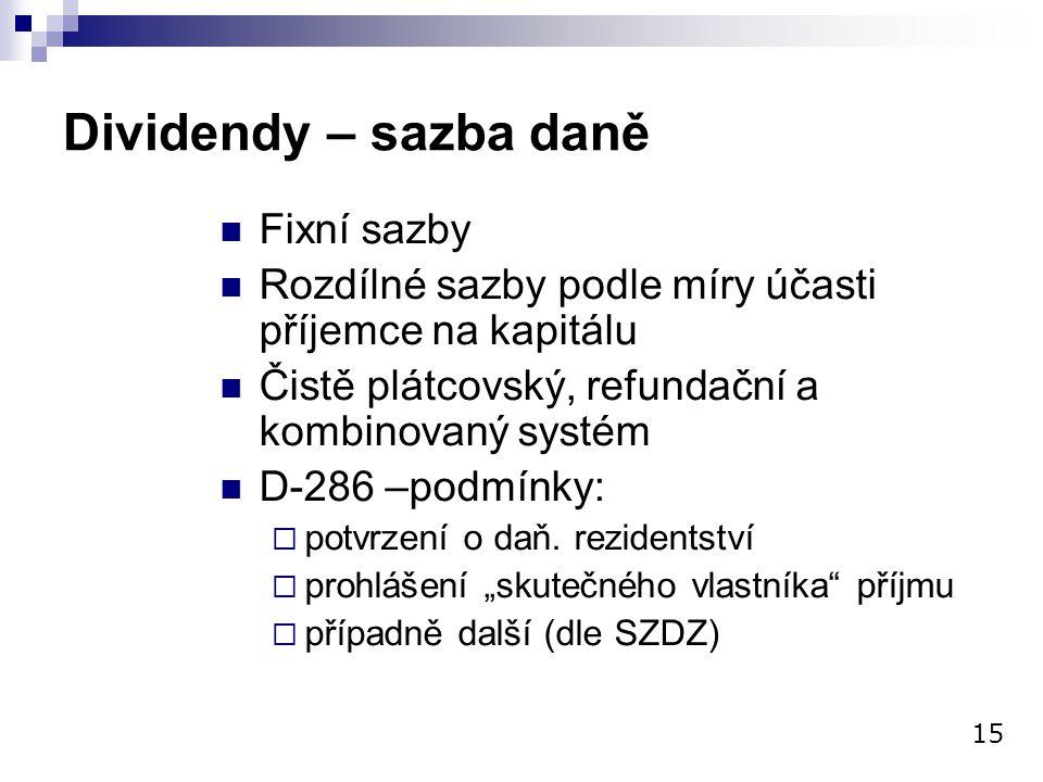 Dividendy – sazba daně Fixní sazby Rozdílné sazby podle míry účasti příjemce na kapitálu Čistě plátcovský, refundační a kombinovaný systém D-286 –podm