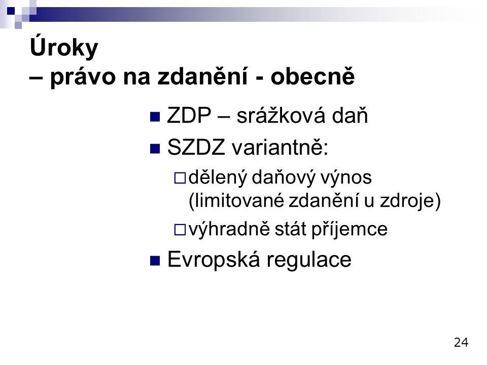 Úroky – právo na zdanění - obecně ZDP – srážková daň SZDZ variantně:  dělený daňový výnos (limitované zdanění u zdroje)  výhradně stát příjemce Evro