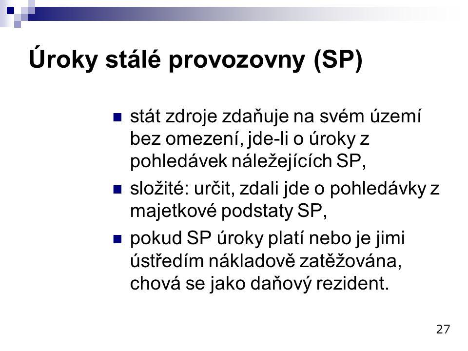 Úroky stálé provozovny (SP) stát zdroje zdaňuje na svém území bez omezení, jde-li o úroky z pohledávek náležejících SP, složité: určit, zdali jde o po