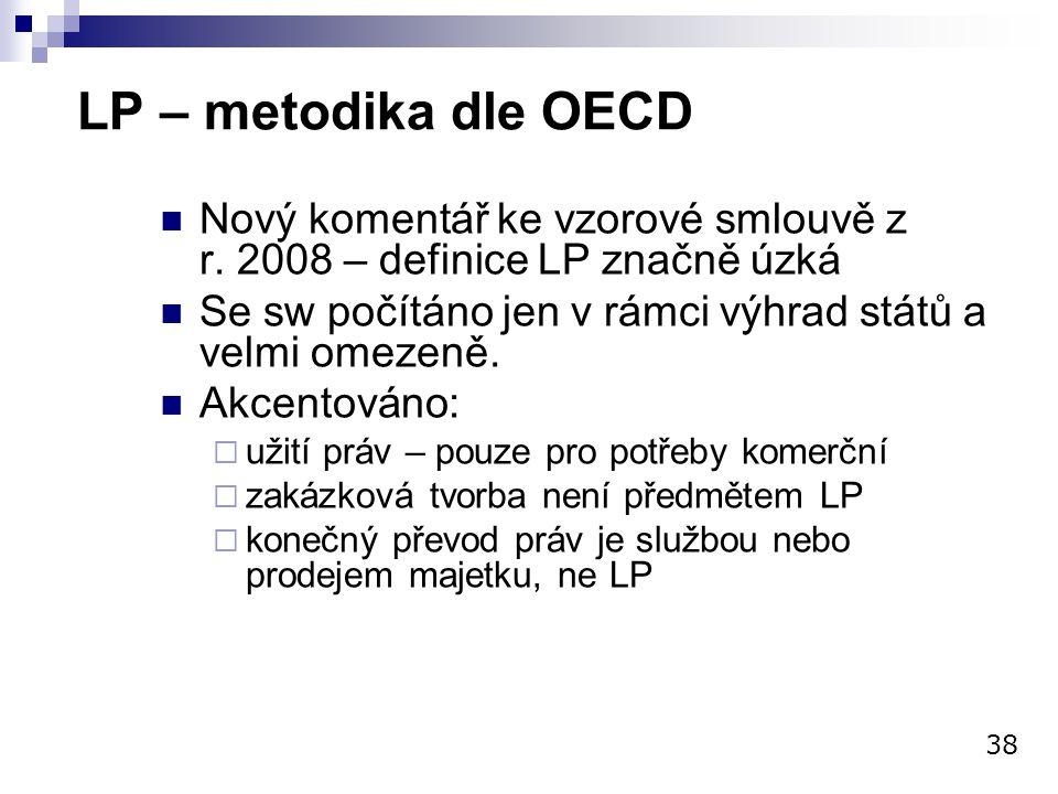 LP – metodika dle OECD Nový komentář ke vzorové smlouvě z r. 2008 – definice LP značně úzká Se sw počítáno jen v rámci výhrad států a velmi omezeně. A