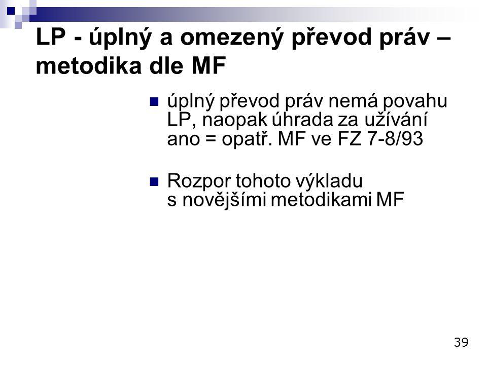 LP - úplný a omezený převod práv – metodika dle MF úplný převod práv nemá povahu LP, naopak úhrada za užívání ano = opatř. MF ve FZ 7-8/93 Rozpor toho