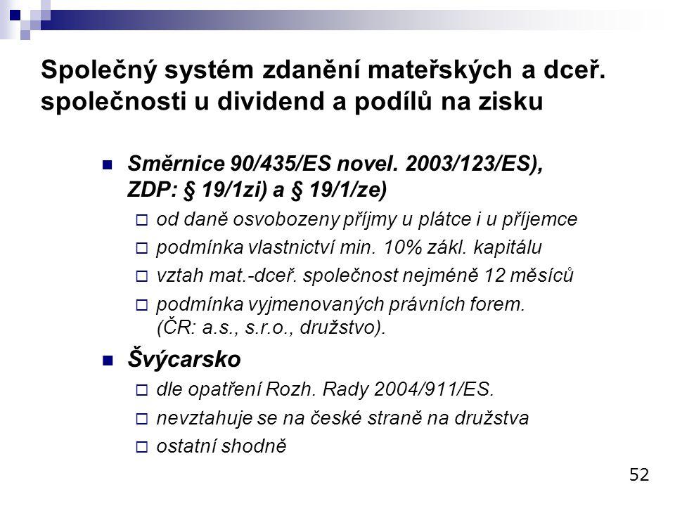 Společný systém zdanění mateřských a dceř. společnosti u dividend a podílů na zisku Směrnice 90/435/ES novel. 2003/123/ES), ZDP: § 19/1zi) a § 19/1/ze
