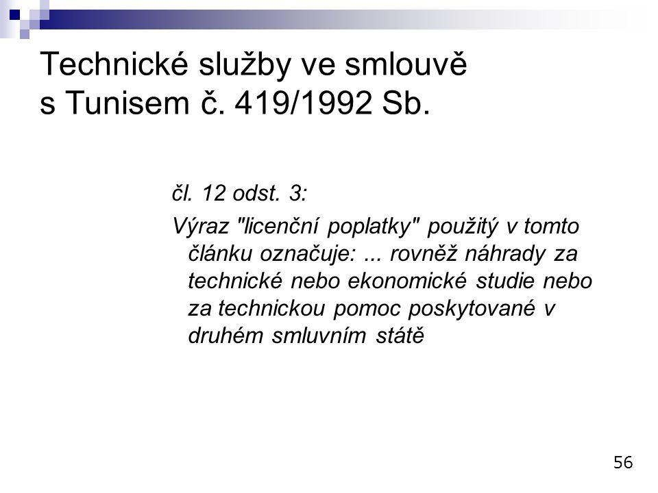 Technické služby ve smlouvě s Tunisem č. 419/1992 Sb. čl. 12 odst. 3: Výraz