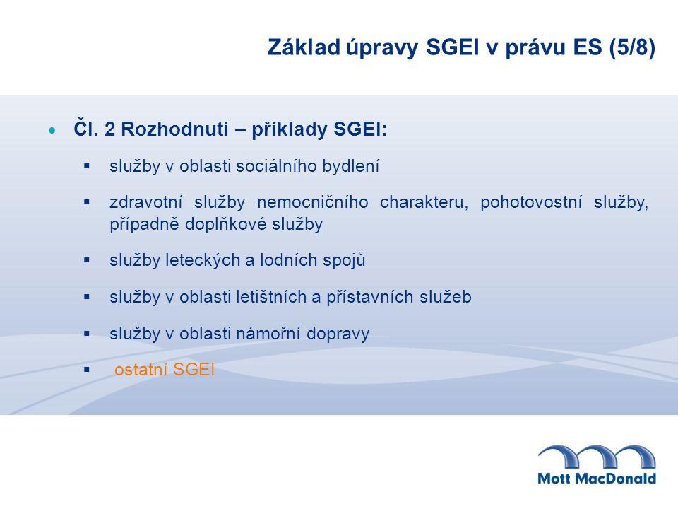 Základ úpravy SGEI v právu ES (5/8)  Čl. 2 Rozhodnutí – příklady SGEI:  služby v oblasti sociálního bydlení  zdravotní služby nemocničního charakte