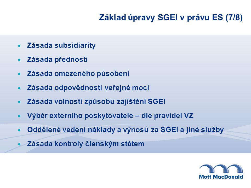 Základ úpravy SGEI v právu ES (7/8)  Zásada subsidiarity  Zásada přednosti  Zásada omezeného působení  Zásada odpovědnosti veřejné moci  Zásada volnosti způsobu zajištění SGEI  Výběr externího poskytovatele – dle pravidel VZ  Oddělené vedení náklady a výnosů za SGEI a jiné služby  Zásada kontroly členským státem