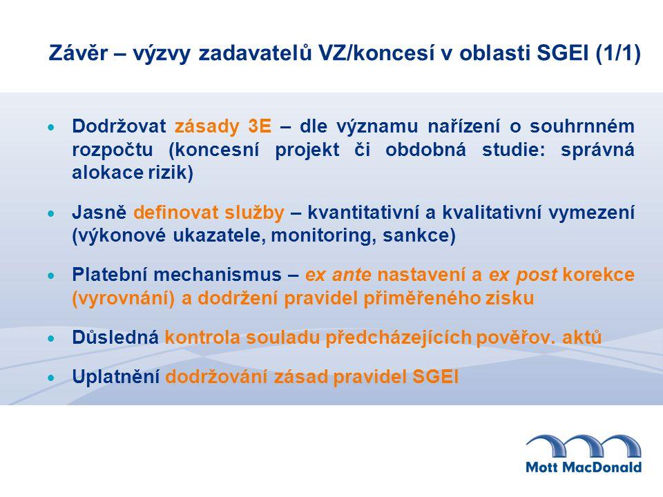 Závěr – výzvy zadavatelů VZ/koncesí v oblasti SGEI (1/1)  Dodržovat zásady 3E – dle významu nařízení o souhrnném rozpočtu (koncesní projekt či obdobná studie: správná alokace rizik)  Jasně definovat služby – kvantitativní a kvalitativní vymezení (výkonové ukazatele, monitoring, sankce)  Platební mechanismus – ex ante nastavení a ex post korekce (vyrovnání) a dodržení pravidel přiměřeného zisku  Důsledná kontrola souladu předcházejících pověřov.