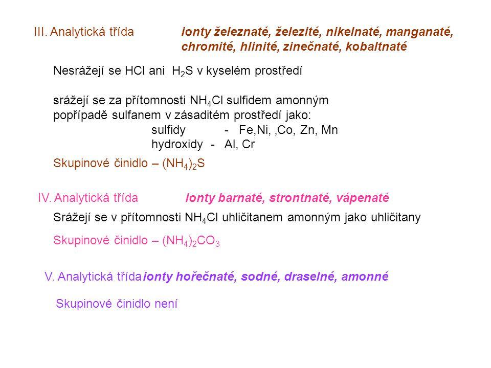 III. Analytická třída ionty železnaté, železité, nikelnaté, manganaté, chromité, hlinité, zinečnaté, kobaltnaté Nesrážejí se HCl ani H 2 S v kyselém p