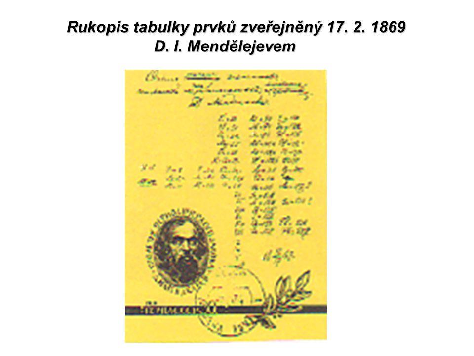 Rukopis tabulky prvků zveřejněný 17. 2. 1869 D. I. Mendělejevem D. I. Mendělejevem