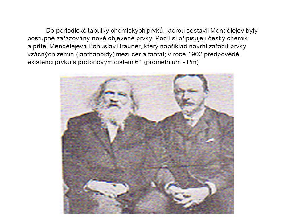 Do periodické tabulky chemických prvků, kterou sestavil Mendělejev byly postupně zařazovány nově objevené prvky.